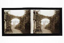 Montfort-l'Amaury Rue France Photo C7 stereo Plaque de verre Vintage 1927