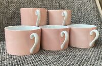 Set Of 5 1970s Fitz & Floyd Pink Low Profile Handled Tea Cups LaRonde Pattern