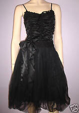 WOMENS GOTHIC BLACK LACE BEAD BOW TRIM SATIN TULLE CONTRAST PARTY DRESS  8-10