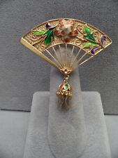 Stunning Vintage Enamel & Sterling Silver Hand Fan Pin