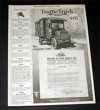 1920 OLD MAGAZINE PRINT AD, TRAFFIC TRUCKS, THE SUPREME TEST, FALKON PAPER ART!