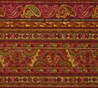 Red Pink Green Coral Paisley Panache Northcott Cotton Quilting Fabric Ro Gregg