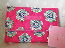 Vera Bradley Euro Wallet Trifold Pink Swirls Flowers ID Coin Cards Small Mini