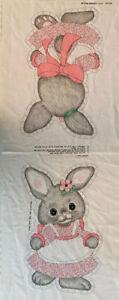 Vntg Bunny Pink Dress Fabric Panel Cut n Sew Pillow Doll Spring Mills