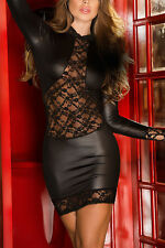 Hot Women Faux Leather Lace Floral Bodycon Long Sleeve Mini Dress Party Clubwear