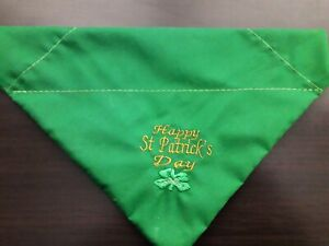 Embroidered  slide on dog bandanas size XS. St Patrick's day  in emerald green