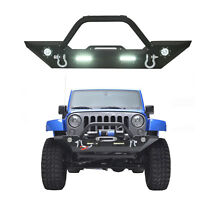 Textured Front Bumper w/4 LED lights & Hitch Receiver For Jeep Wrangler 07-18 JK