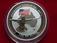 Australia. 2002  1oz - Silver Kookaburra.. U.S.A Flag Privy mark.. BU