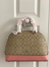 NWT Coach Light Khaki/Blush Pink Signature Sierra Satchel Bag F58287 - New $395