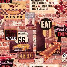 American Diner Word Art Poster (Picture Elvis Marilyn Monroe Sinatra James Dean)