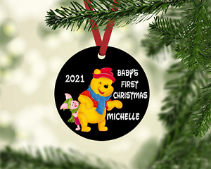 POOH & PIGLET BABY'S FIRST CHRISTMAS 2021 METAL ORNAMENT PERSONALIZED W/ NAME