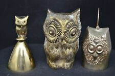 3 Vtg Brass Owl Figures-Owl Paperweight(Candle&Su ch),India Bell &Bell Holder Owl
