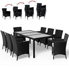 Poly Rattan Sitzgruppe Essgruppe Gartenmöbel Sitzgarnitur Garten Set Schwarz 8+1