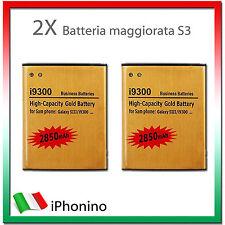 2X Batteria Maggiorata Sostitutiva GOLD SAMSUNG S3 i9300 2850mAh potenziata