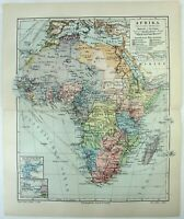 Colonial Africa - Original 1905 German Language Map by Meyers. Antique