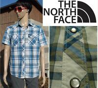 THE NORTH FACE esken shirt western pearl snap short sleeve blue plaid mens M