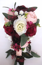 17 piece Wedding Bouquet package Bridal Silk Flowers Cascade EGGPLANT BLUSH WINE