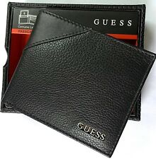 GUESS Monterrey Men's Bifold Genuine Leather Wallet Black Brand New w/Tag In Box