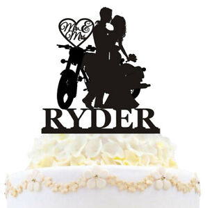 Personalized Motorcycle Funny Wedding Cake Topper Mr And Mrs Couple Decoration