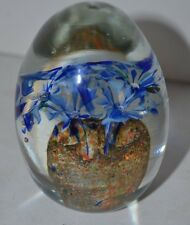 Vintage Crystal Clear Flower Egg Blue Paperweight