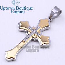 08 Men's Stainless Steel Gold/Silver Cross Pendant