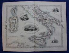 ORIGINALE Antico Mappa Sud Italia, Sicilia, Sardegna, Corsica, Tallis, RAPKIN 1854