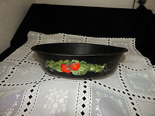 Antique Tole Toleware Handpainted Tin Tinware Strainer Basket Strawberries Fruit