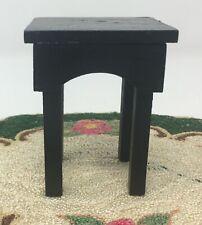 Vintage Dollhouse Miniature Black Wood Island Kitchen Garden Table Furniture