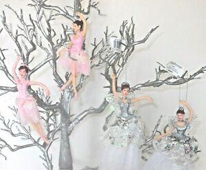 PAIR HANGING FAIRY/BALLERINA DANCER HANGING TREE DECORATION PINK OR WHITE DRESS