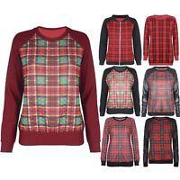 Womens Sweatshirt Ladies Tartan Printed Wetlook PVC Jumper Girls Long Sleeve Top