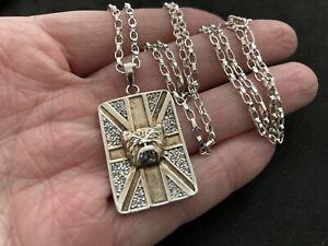 Vintage Sterling Silver British Bulldog Pendant. On Silver Chain.