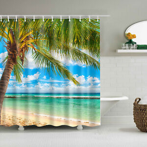 Tropical Coconut Tree Shower Curtain Summer Beach Bathroom Decor Fabric & 12hook