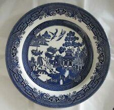 "2 X 10"" Churchill Staffordshire England Blue Willow Pattern Dinner Plates"