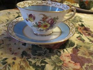 FOLEY CHINA  EB & CO  Cup & Saucer Floral Blue With Gold Trim Made in England