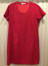 BRAND NEW $198 BODEN WOOL RED TOP STITCH RETRO SHEATH DRESS WH297 - SIZE US 14R