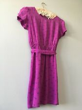 Women's Forever 21 Pink Tea Dress VINTAGE Style With Pearl Buttons Size Small