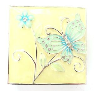 Blue and Cream Butterfly and Flower Enamelled Trinket Box with Diamante Detail