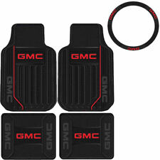 New Car Truck Front Rear BLACK Rubber Floor Mats Steering wheel Cover for GMC