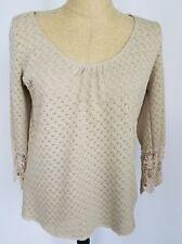 Umgee Women's Crochet Top Small 3/4 Sleeve Lace Open Knit Shirt Beige Tan