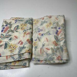 pillowcase pair tan pink floral standard size cotton blend