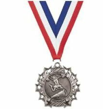 """2 1/4"""" Antique Silver Cheer Ten Star Medal includes red/white/blue neck ribbon"""