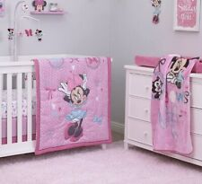 Disney Minnie Mouse 4* Piece Nursery Crib Bedding Set Pink
