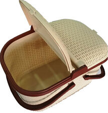 Beige Rattan Picnic Basket Locked Cover Handles Clip Down Flaps for barbecue