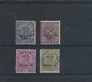 NABHA OFFICIAL 1932-42 SET OF FOUR LMM/MM SG O47/O50 CAT £29