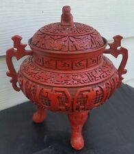 Vtg Large Chinese Carved Lacquer Cinnabar 3 legged Urn Dragons Gargoyles
