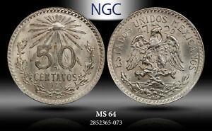 1943-Mo MEXICO SILVER 50 CENTAVO NGC MS64