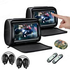 "2x 9"" Auto Kopfstütze DVD HDMI 1080P Touchscreen verstellbar 30° mit Kopfhoerer"
