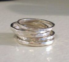 Hammered 925 Sterling Silver Stacking Band Ring HANDMADE Any Size Thumb Toe Midi