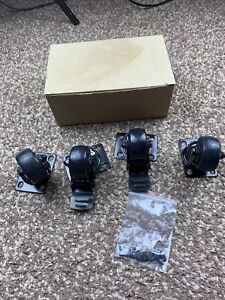 4 X Brand New Black Caster Wheels With Washer Never Used With Brakes
