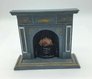 Dolls House Grey Resin Fireplace And Hearth